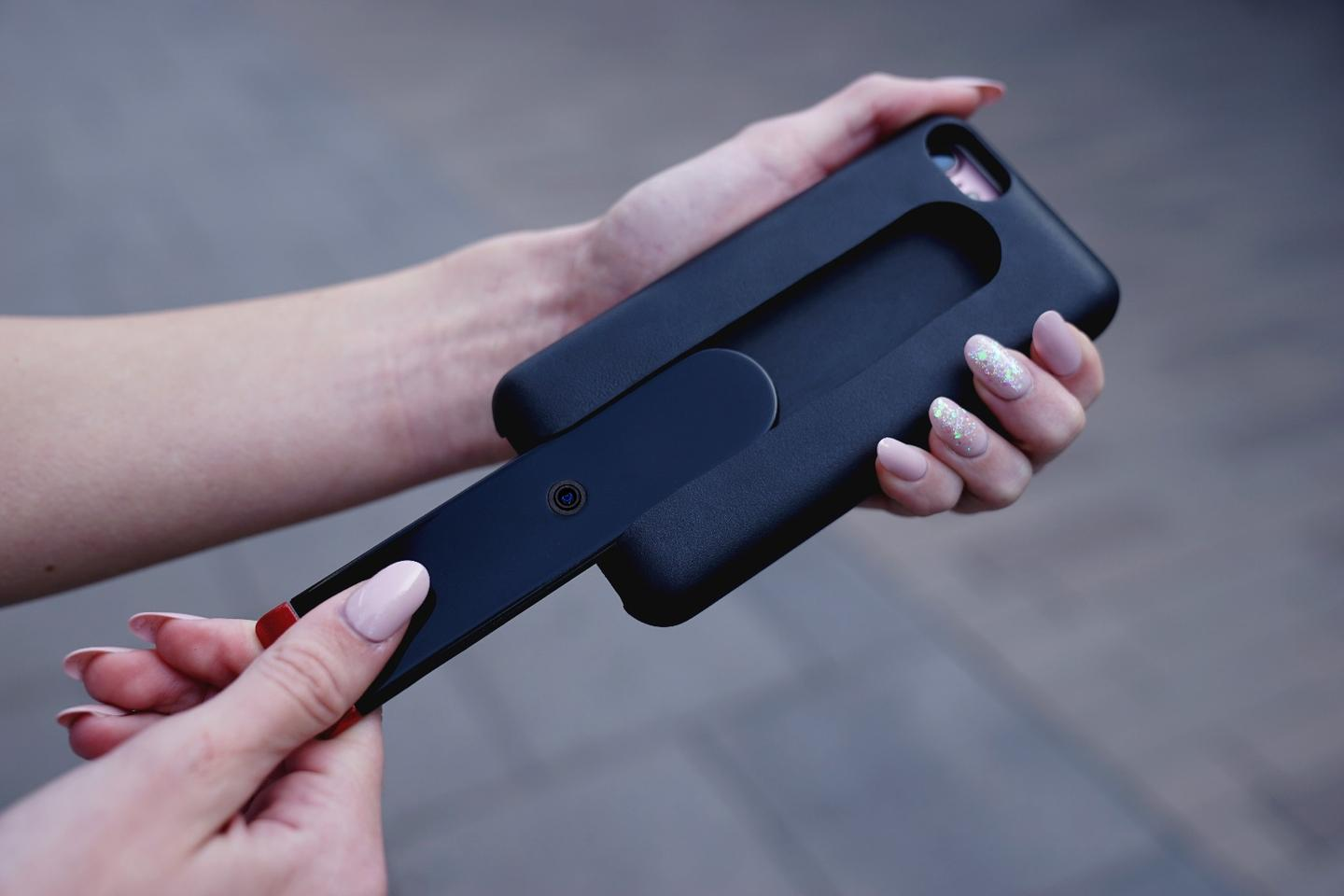 The camera can be slid out of theEvo GoCamcase as needed