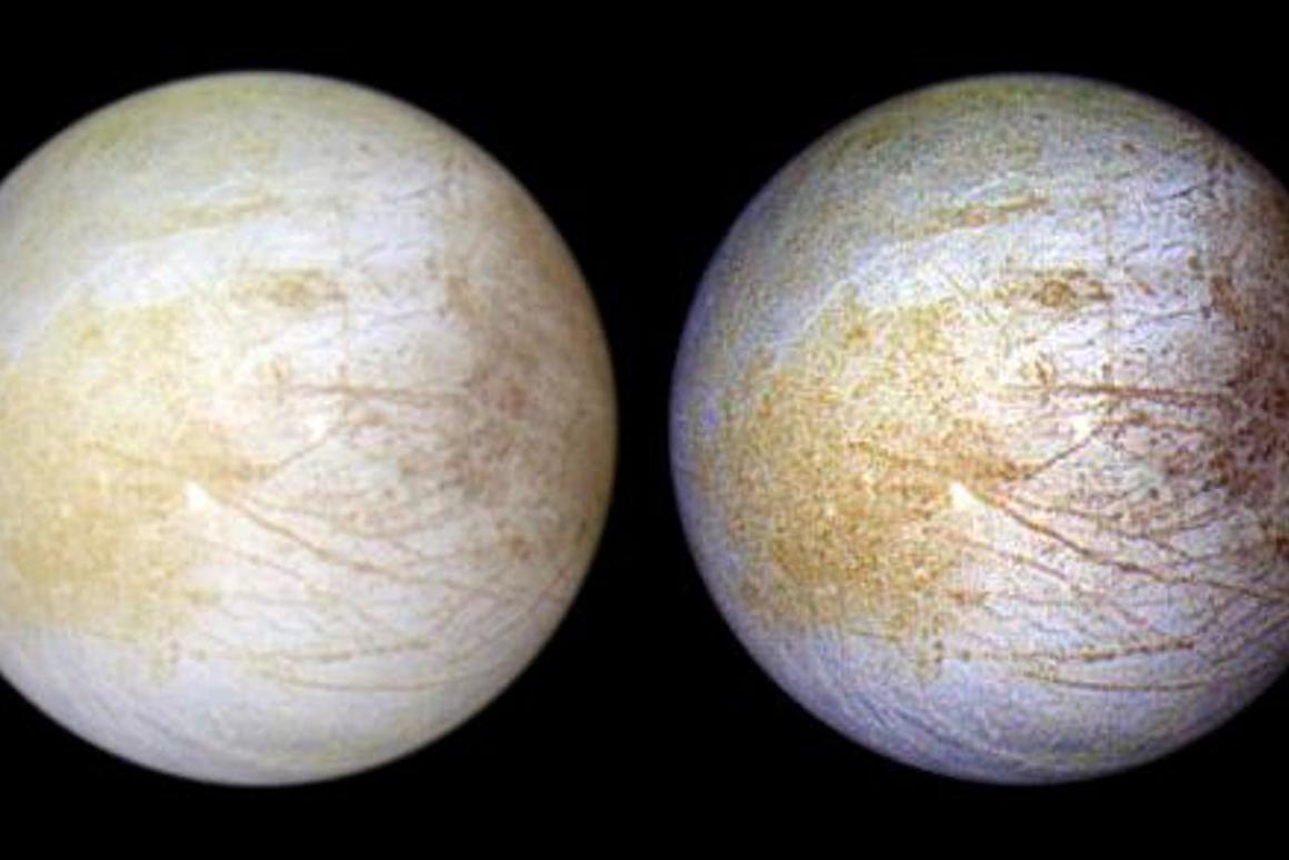 Color composite view combines violet, green, and infrared images of Europain natural color (left) and enhanced color designed to bring out subtle color differences in the surface (right)