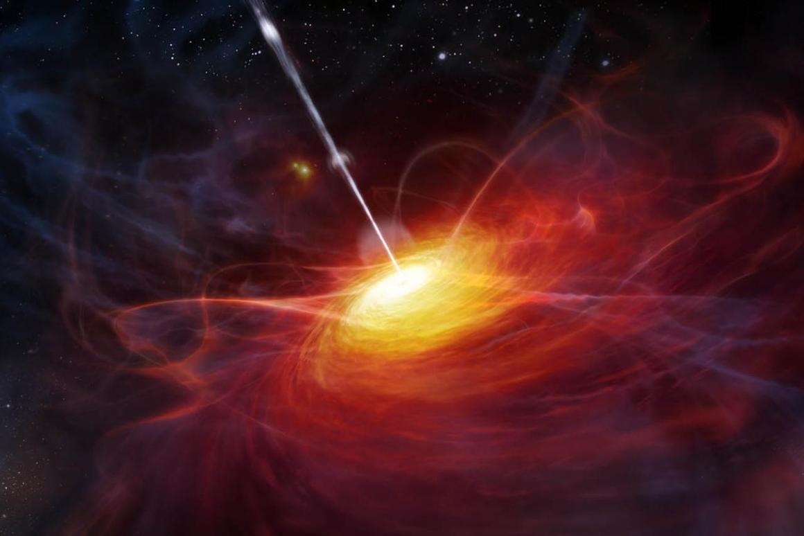 An artist's impression of a quasar (Image: ESO/MKornmesser)