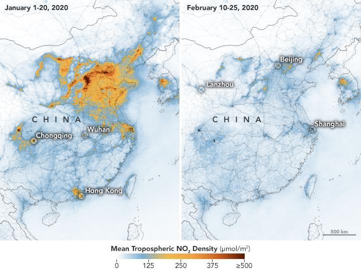 Nitrogen dioxide values across China from January 1-20, 2020 (before the quarantine) and February 10-25 (during the quarantine)