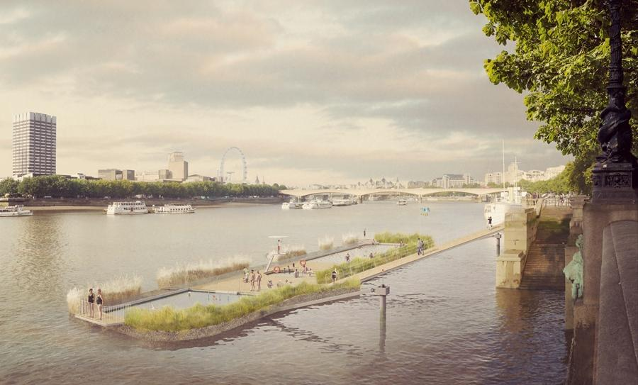New designs have been released for swimming pools in the River Thames proposed by the Thames Baths Project