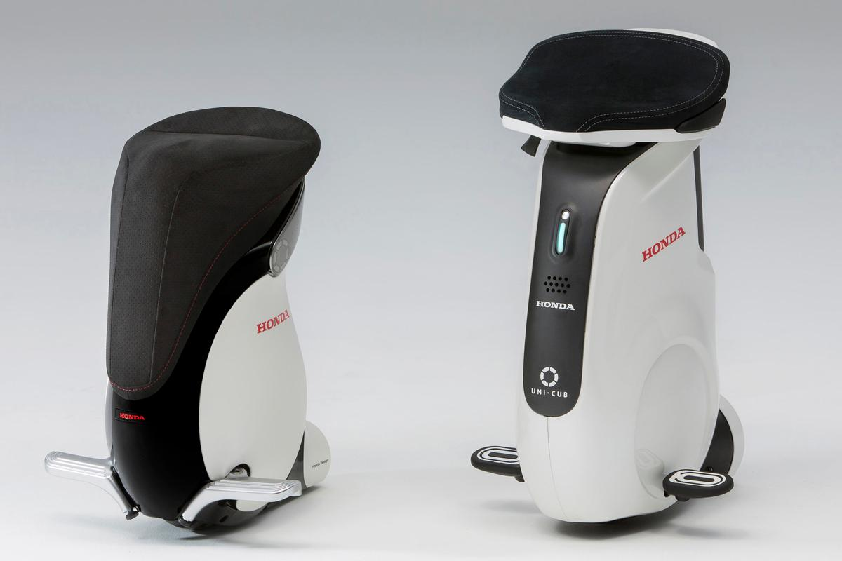 The UNI-CUB β and the UNI-CUB. The family was first seen four years ago at the Tokyo Motor Show as the U3-X. The U3-X was significantly developed to become the UNI-CUB (pictured right) in May 2012 featuring the same balance control technology and Honda Omni Traction Drive System which originated from Honda's three-decade-old research into humanoid robots. The UNI-CUB β (left) is the third generation.