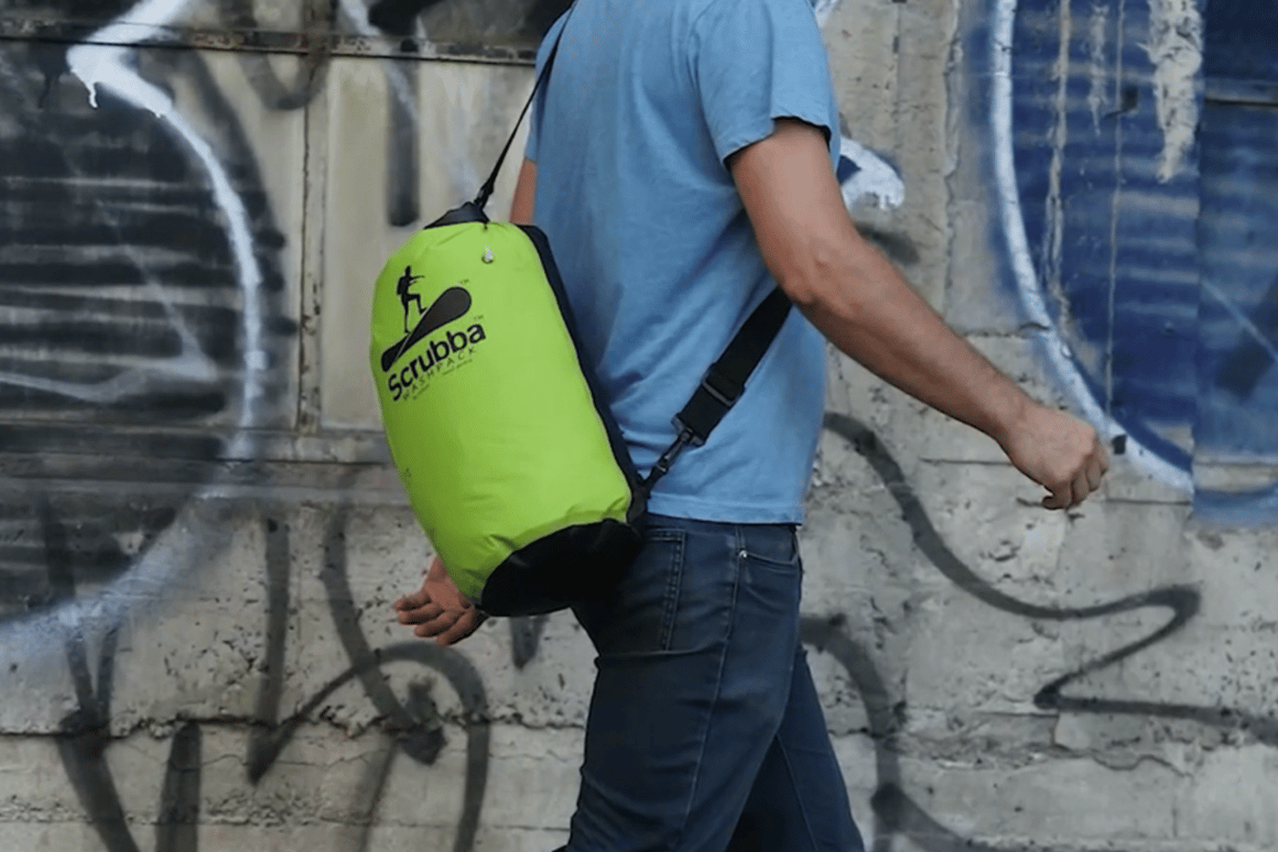The Scrubba Wash Pack combines a backpack and washing machine in one device