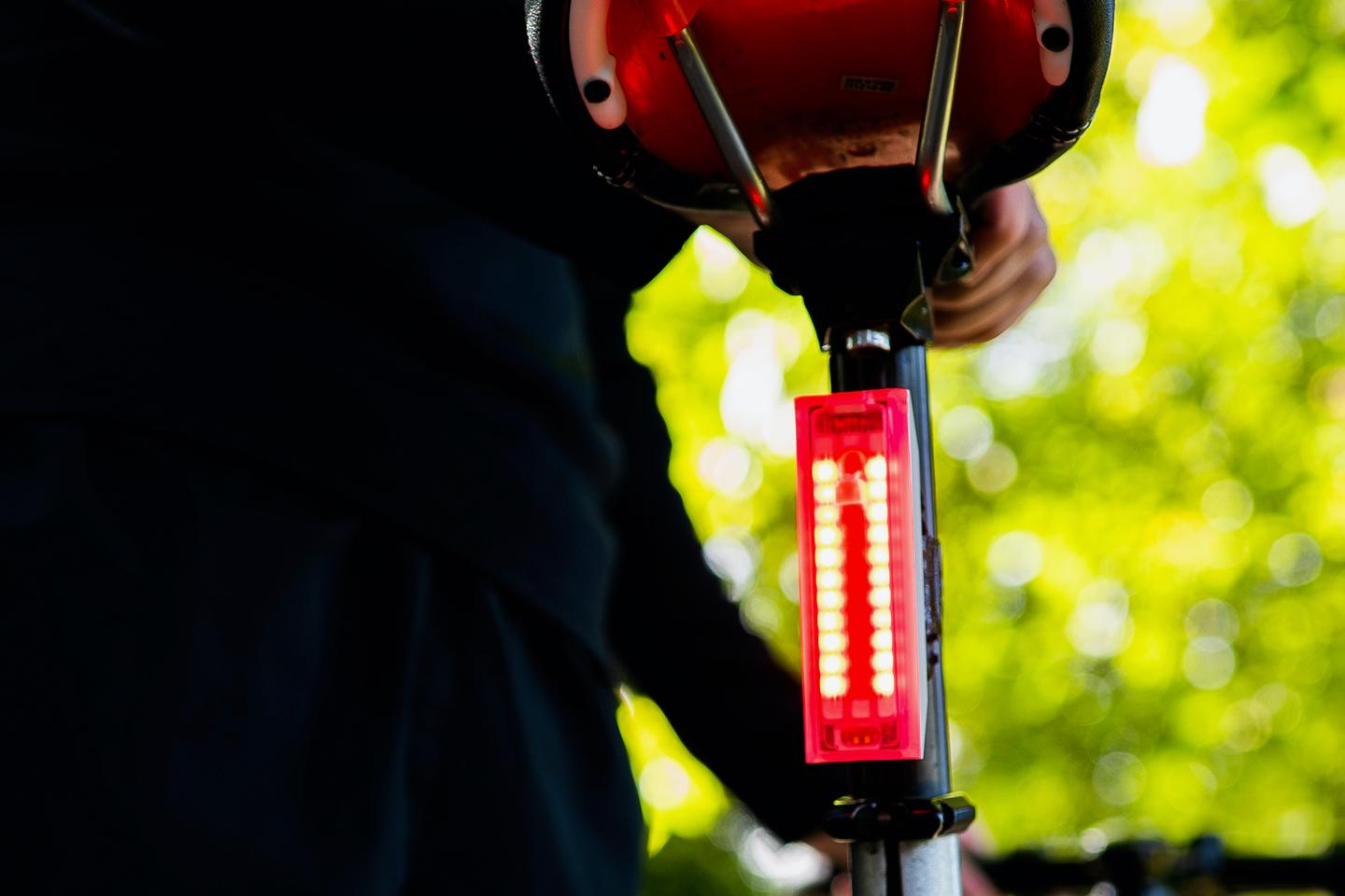 The SureLight flashes orange when it detects vehicles closing in too fast from the rear