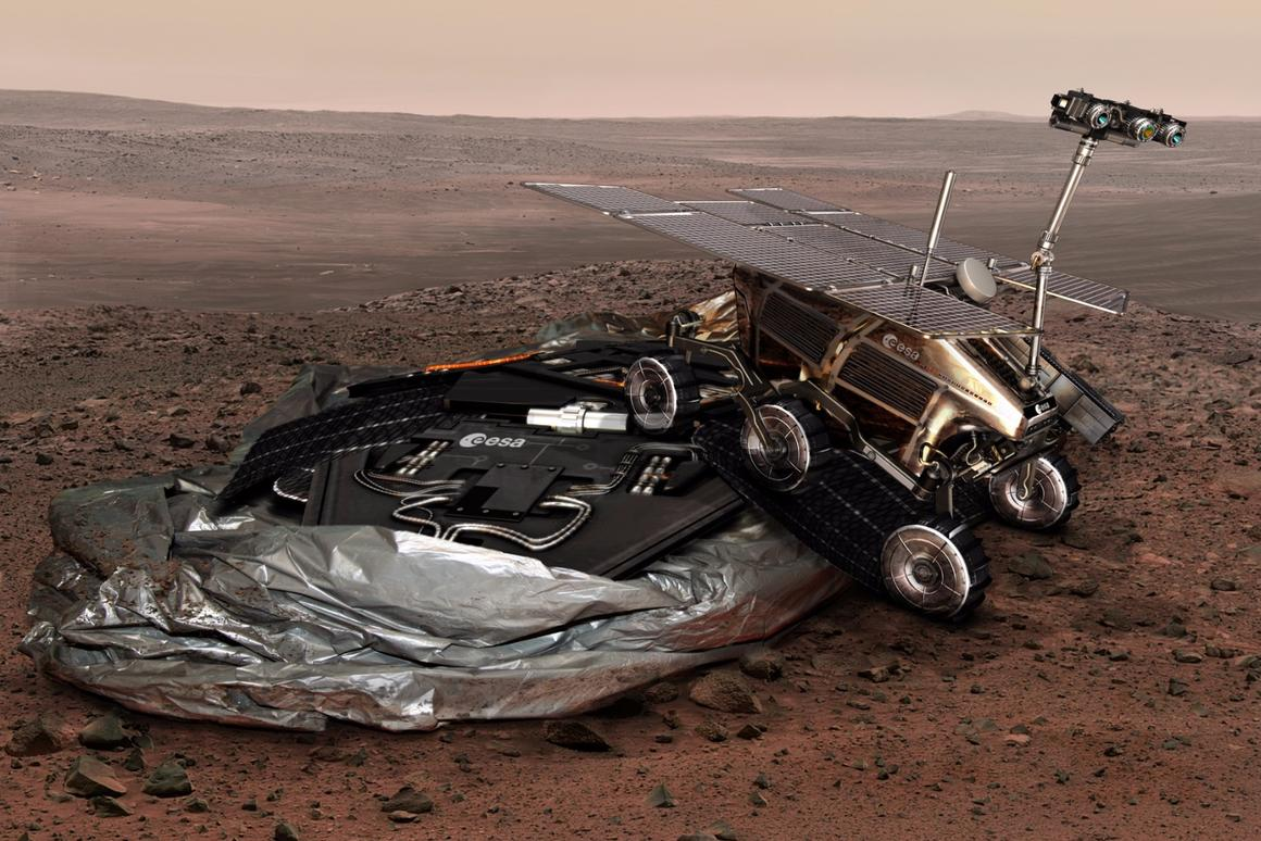Artist's concept of the EXoMars 2018 lander and rover