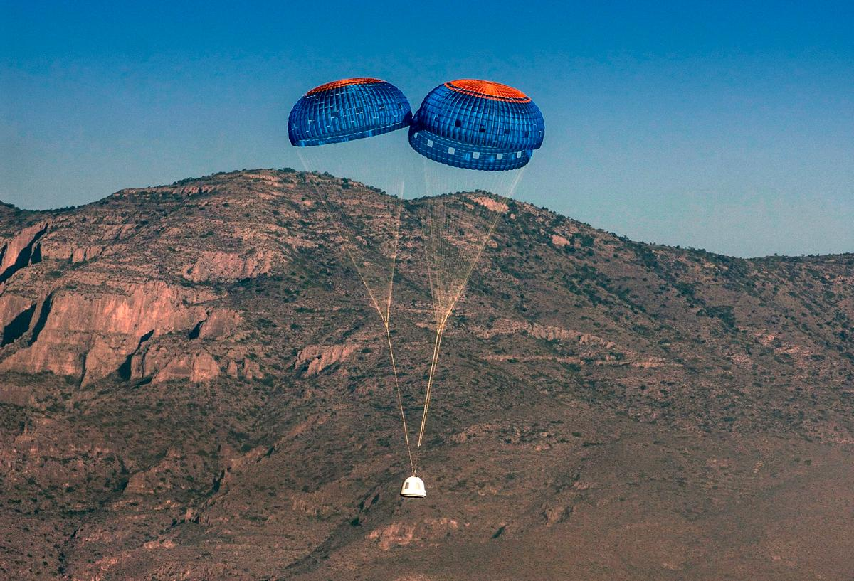 Blue Origin will cause one of the three capsule parachutes to fail as part of an emergency systems test