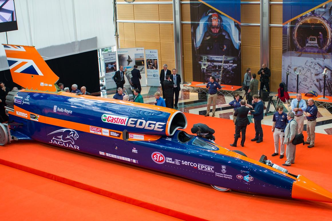 Bloodhound SSC makes its world debut at East Wintergarden in Canary Wharf, London