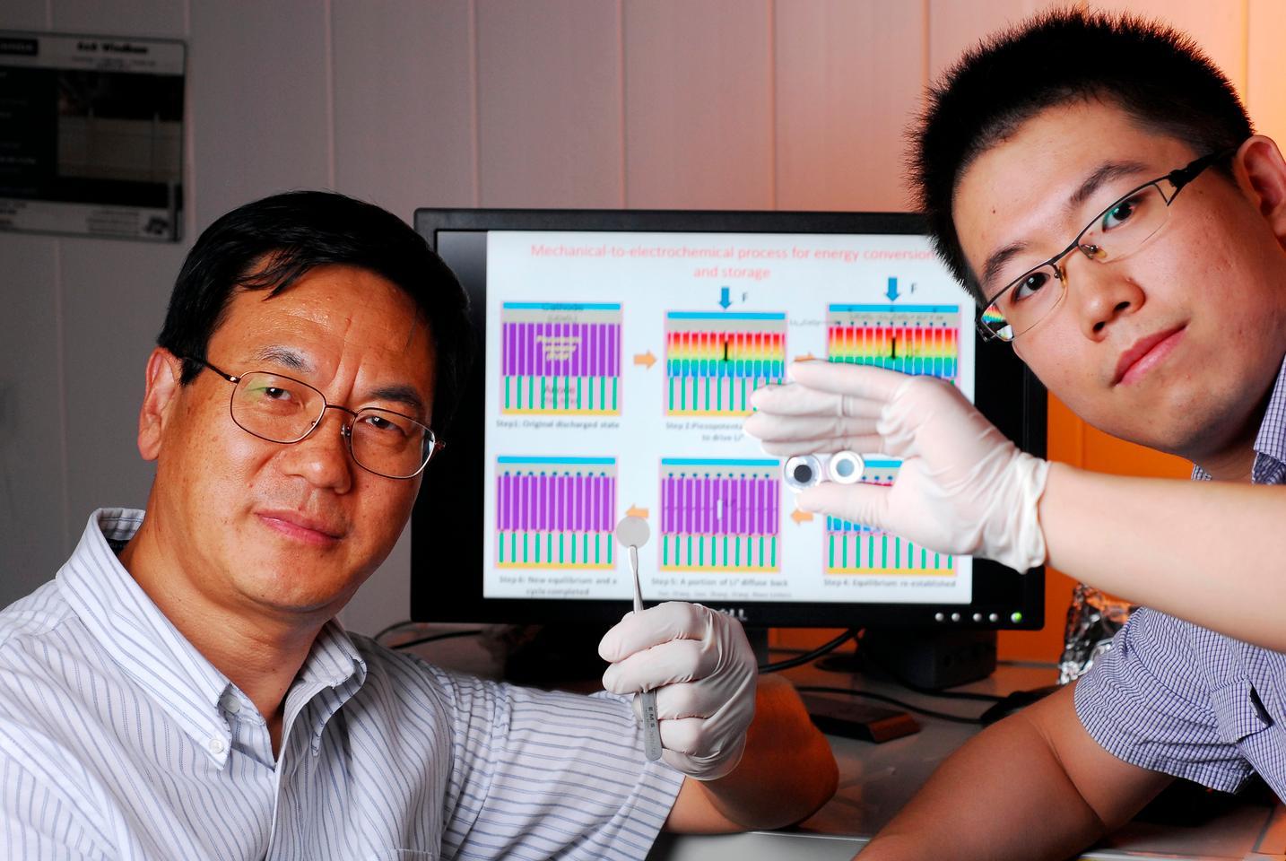 Georgia Tech professor Zhong Lin Wang (left) and Ph.D. candidate Sihong Wang (Credit: Gary Meek)