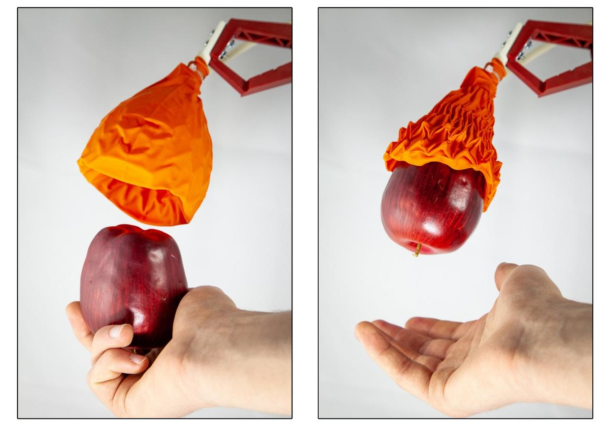 The Magic Ball gripperconsists of a skeleton made from cone-shaped origami structure that is connected to a vacuum device and wrapped in an airtight skin