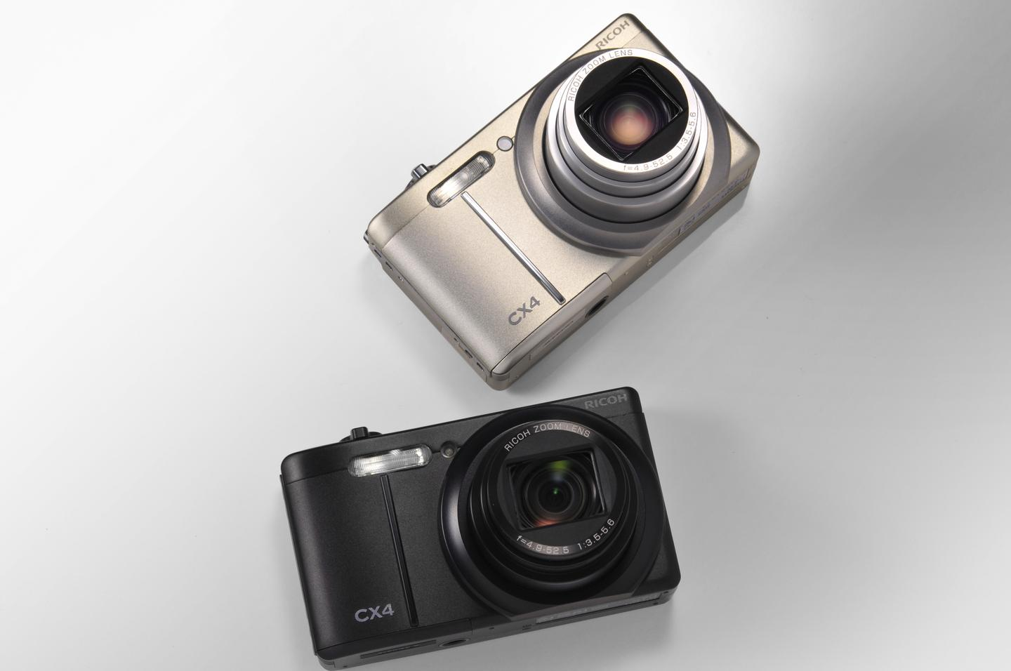 The CX4 in black and silver, from the front with the lens open