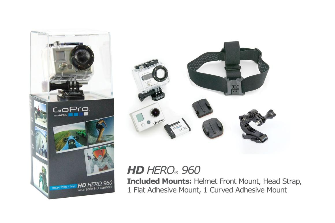 The GoPro HD HERO 960, with included accessories