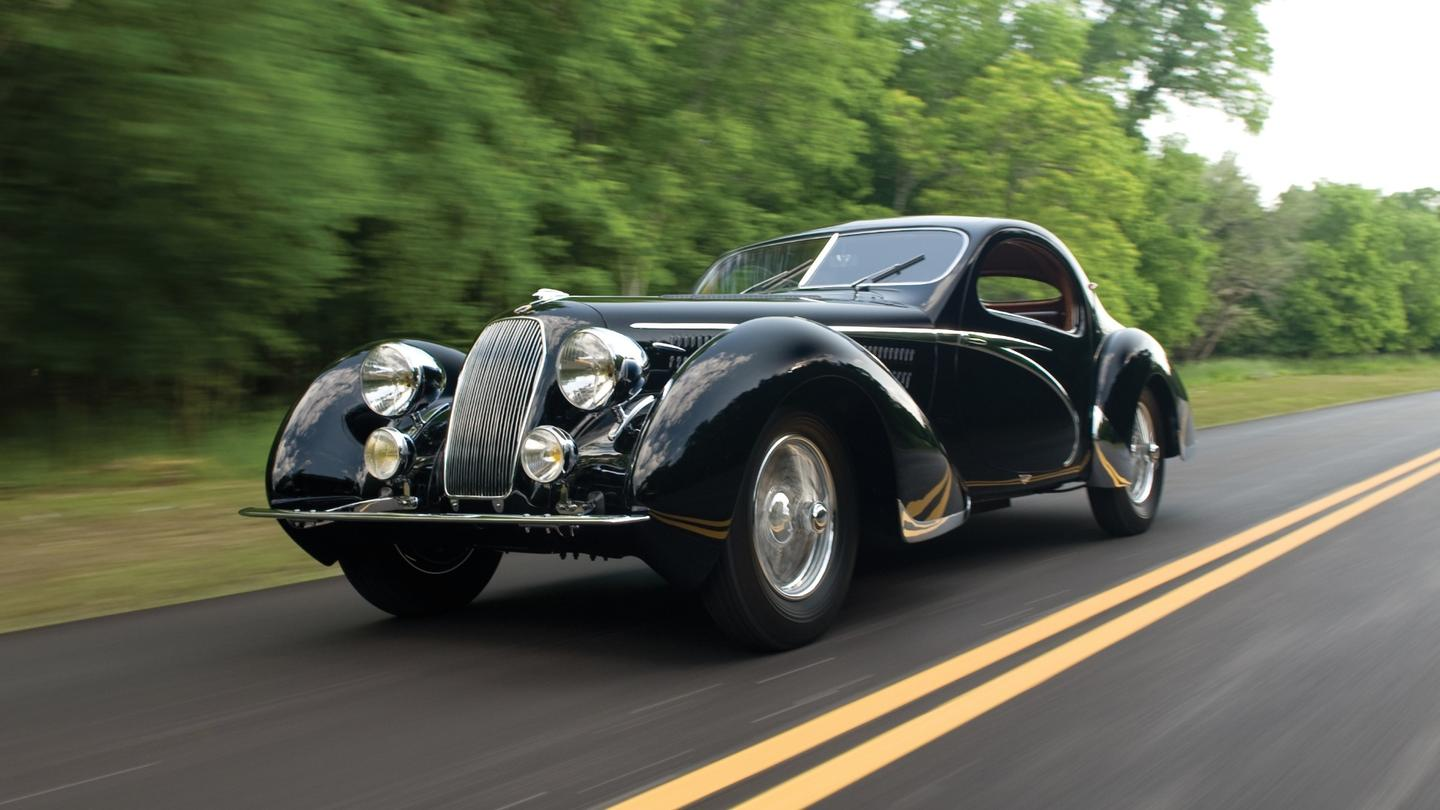 This 1938 Talbot-Lago T150-C Lago Speciale Teardrop Coupe bodied by Figoni et Falaschi was a class winner at the 1948 24 Hours of Spa and the only long-wheelbase Lago Speciale Teardrop Coupe in existence. It sold for $4,620,000 at Monterey in 2010.