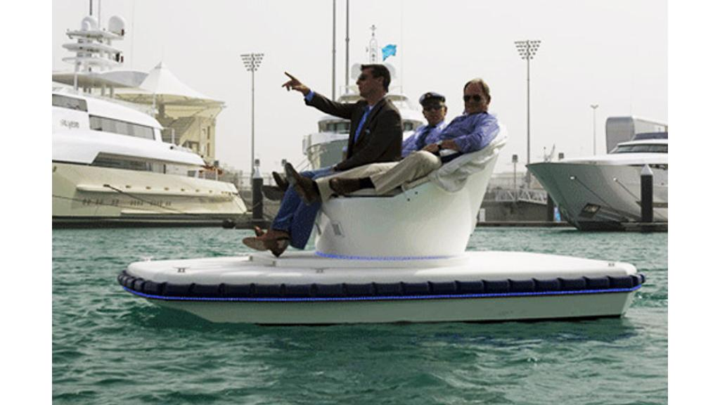 "The appropriately named ""sofa boat"""