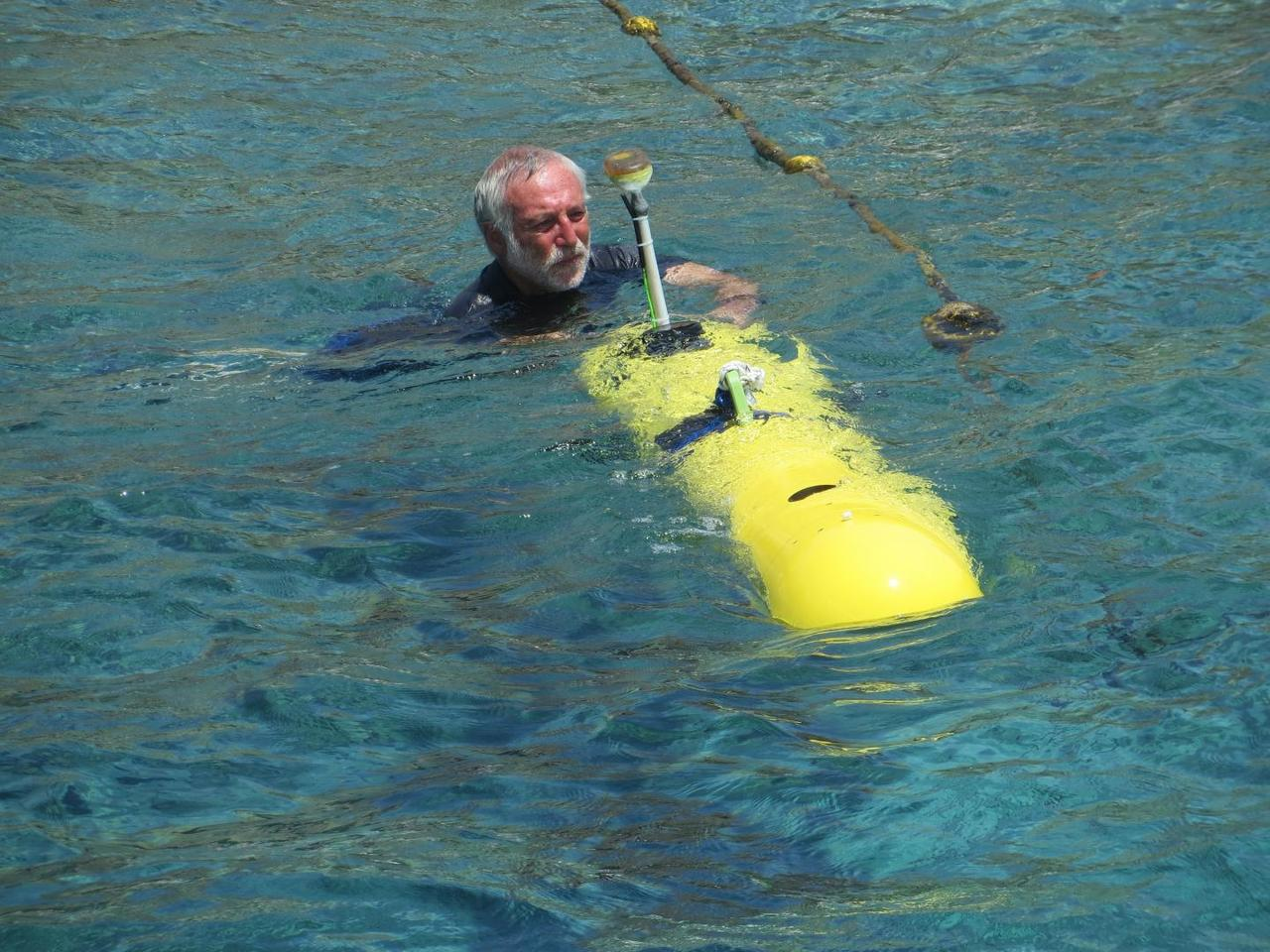 Prof. Hugo Gutermanwith the HydroCamel II in the waters off of Eilat, Israel