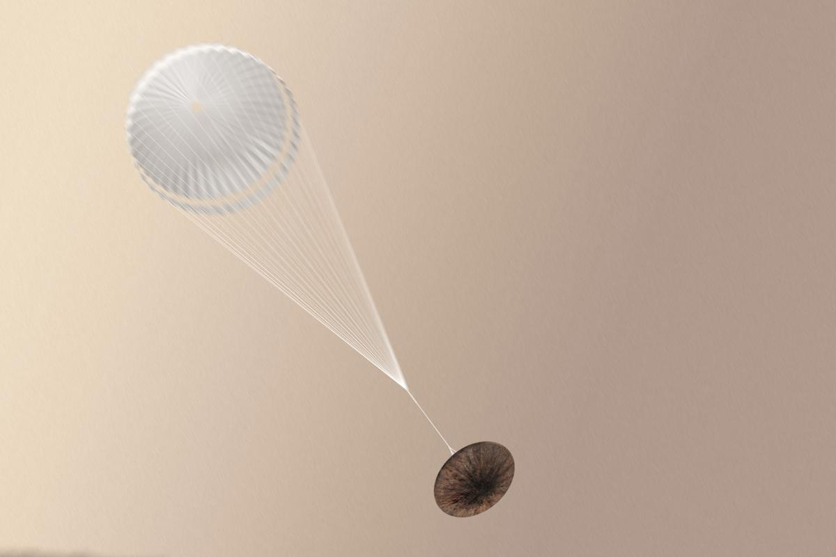 Artist's concept of Shiaparelli deploying its parachute