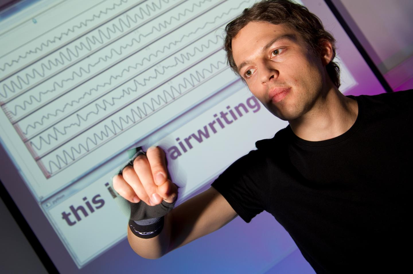 In the airwriting system, a sensor-equipped glove is used to identify letters drawn in the air by the wearer, which are then converted into digital text