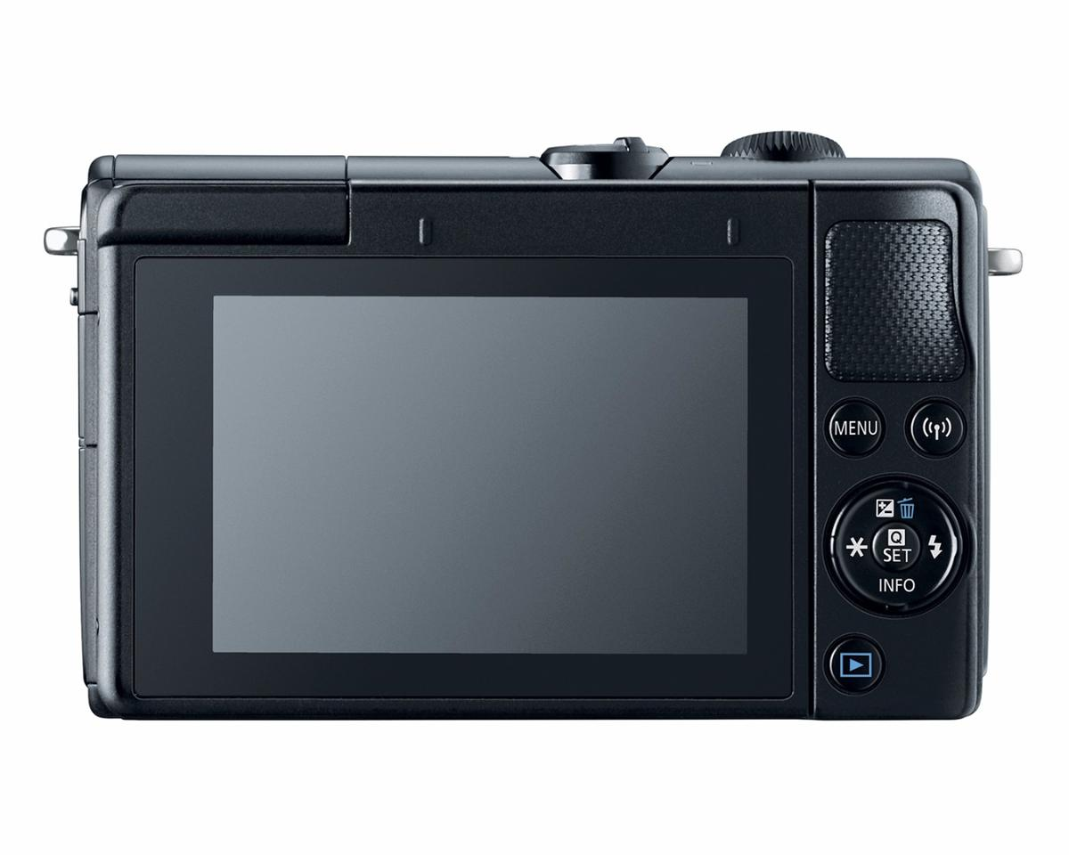 The Canon EOS M100 features a 3-inch flip-up touchscreen display panel, with a refreshed user interface