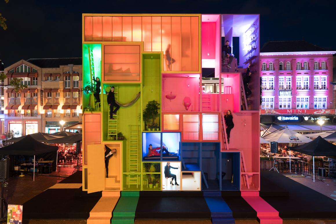 The nine colorful blocks that make up the nine-meter-tall (30 ft) Wego installation are stacked together in a Tetris meets Snakes and Ladders kinda way