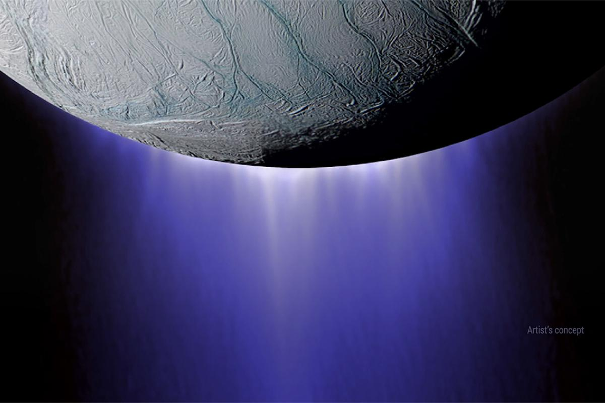 An artist's concept of the plumes at Enceladus' south pole