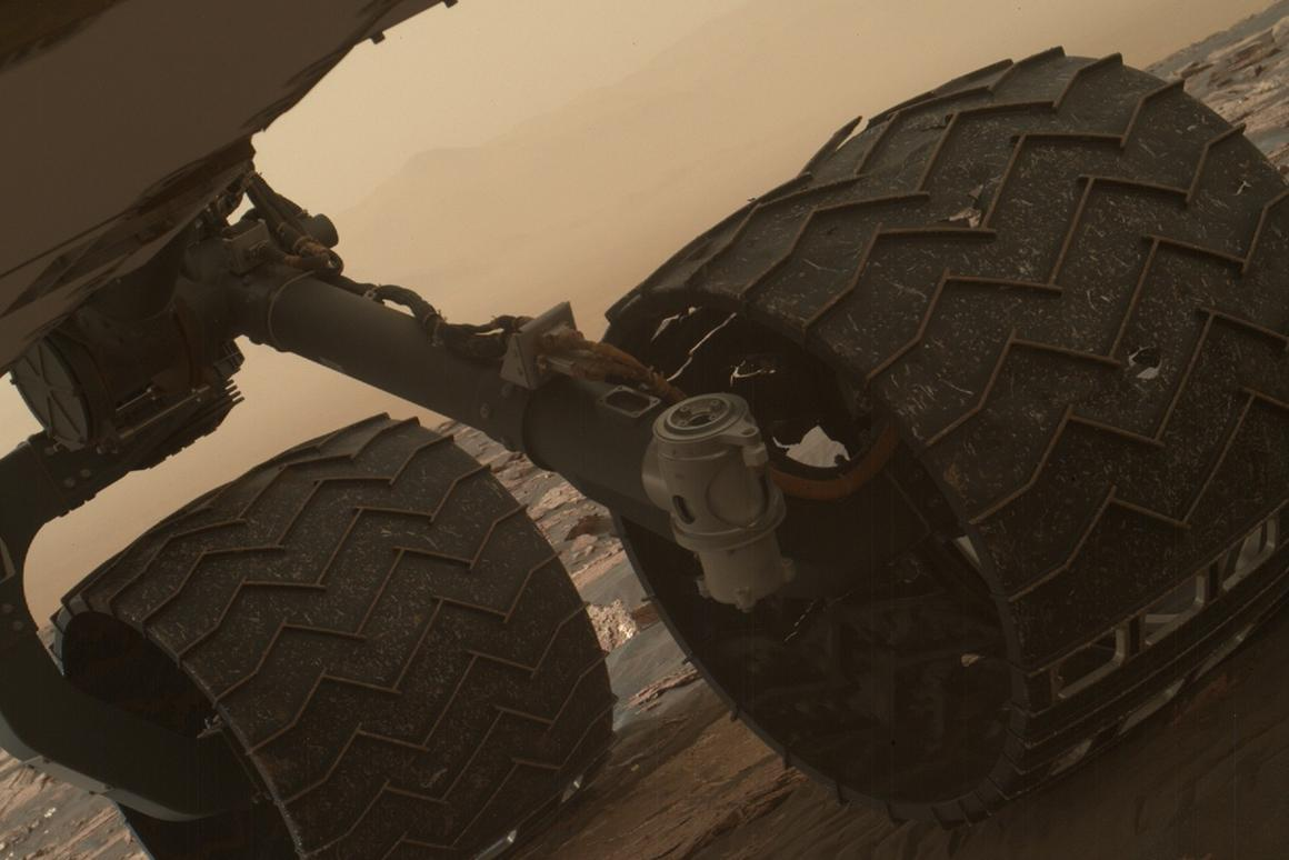 Two of the raised treads, called grousers, on the left middle wheel of NASA's Curiosity Mars rover broke during the first quarter of 2017
