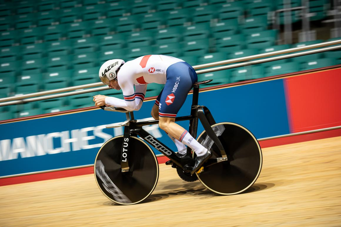 Ed Clancy takes the HB.T for a test ride at Manchester Velodrome