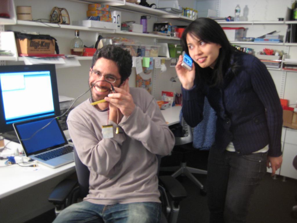 Mellis makes the first call using the prototype (Photo: David Mellis)