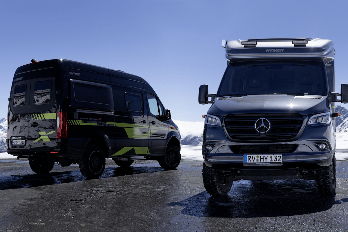 The new Hymer CrossOver models stop for a photo at the top of the pass