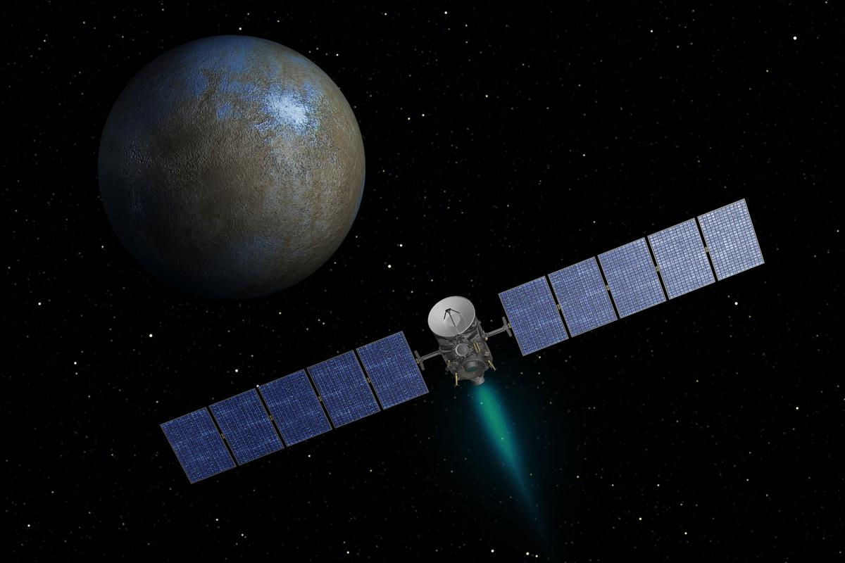 Artist's impression of Dawn approaching the dwarf planet Ceres (Image: NASA/JPL-Caltech)