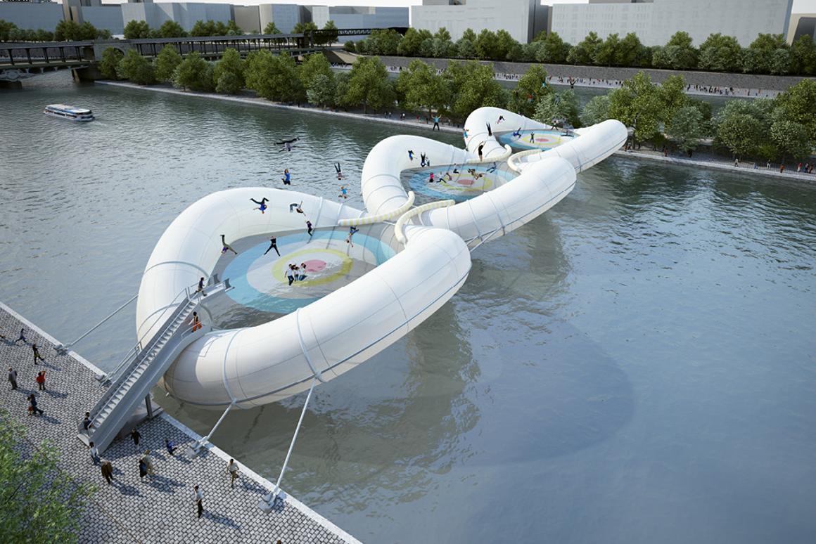 The trampoline bridge would cross the River Seine near to the existing Bir-Hakeim bridge