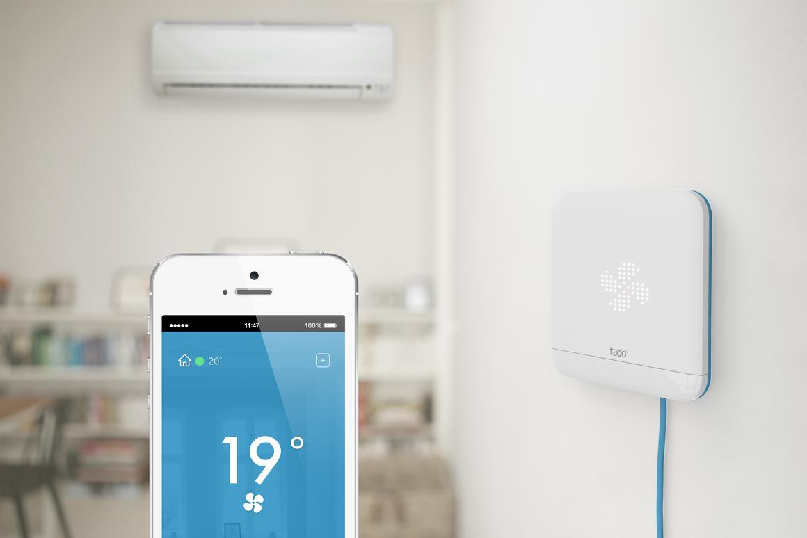 Tado Cooling is a WiFi-enabled unit that turns any air conditioning unit controlled via IR remote control into a smart device