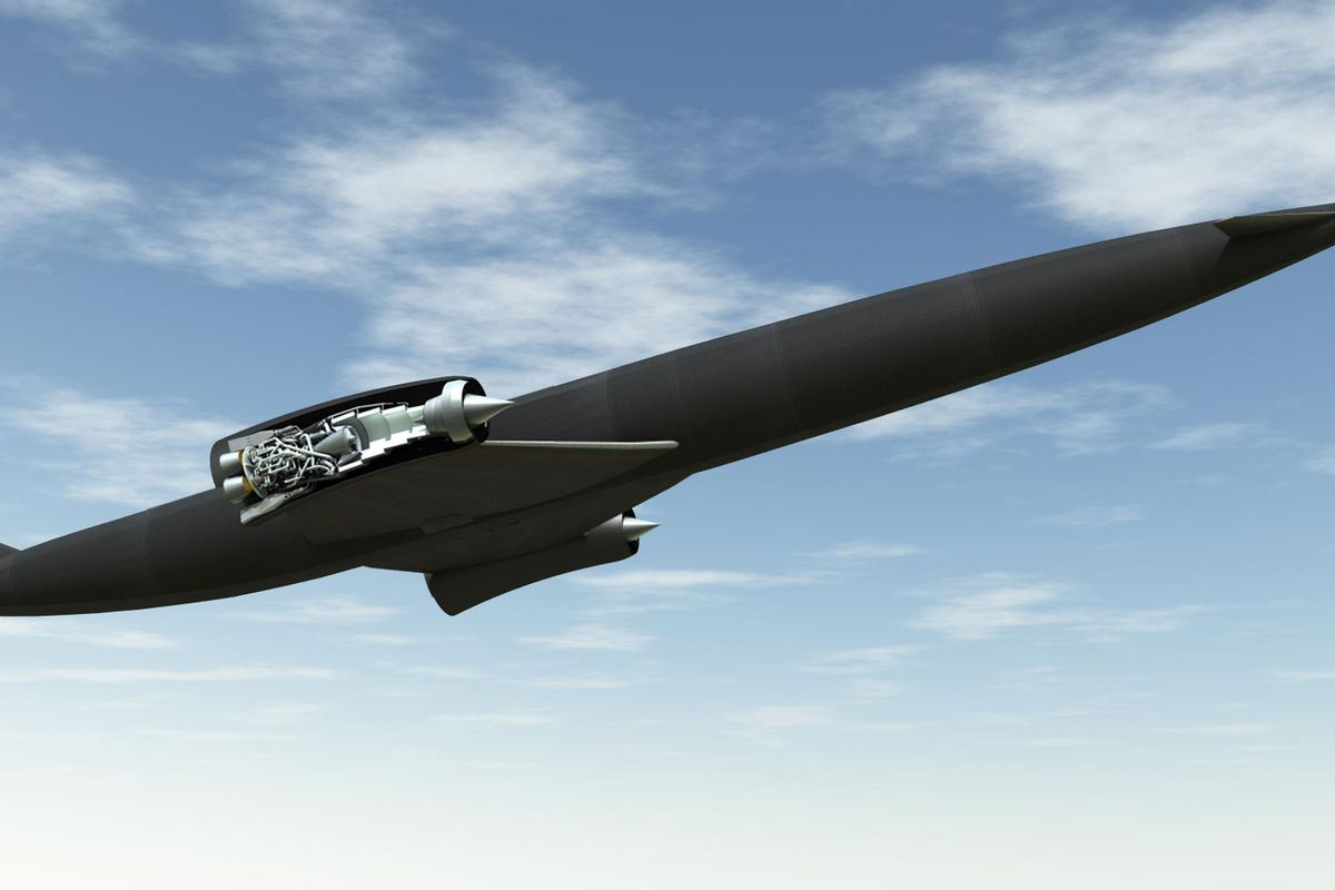 A rendering of SKYLON in flight, showing the SABRE engine