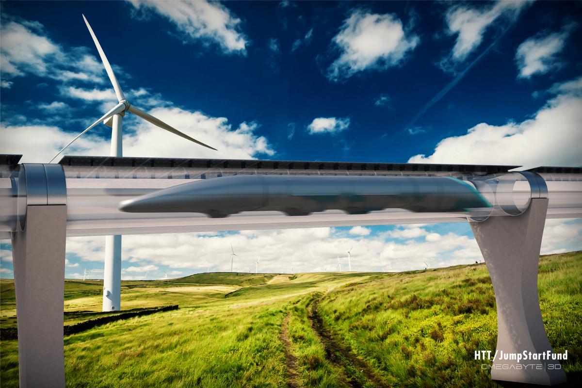 HTT's rendering of the proposed Hyperloop in action