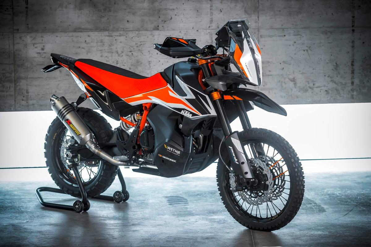The KTM 790 Adventure R prototype is powered by KTM's first LC8c parallel twin engine