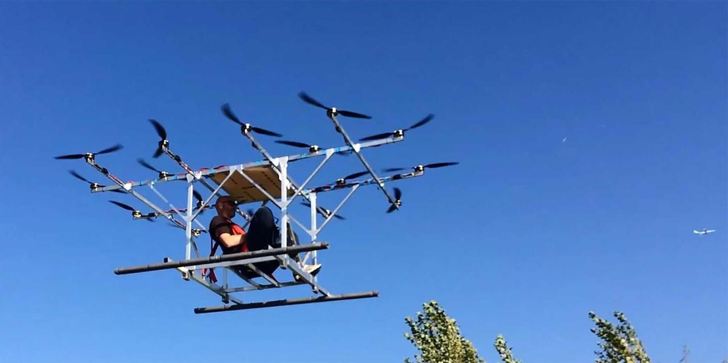 Sky-Hopper's manned multicopter prototype in untethered test flight, with founder Peter Dobber at the controls.