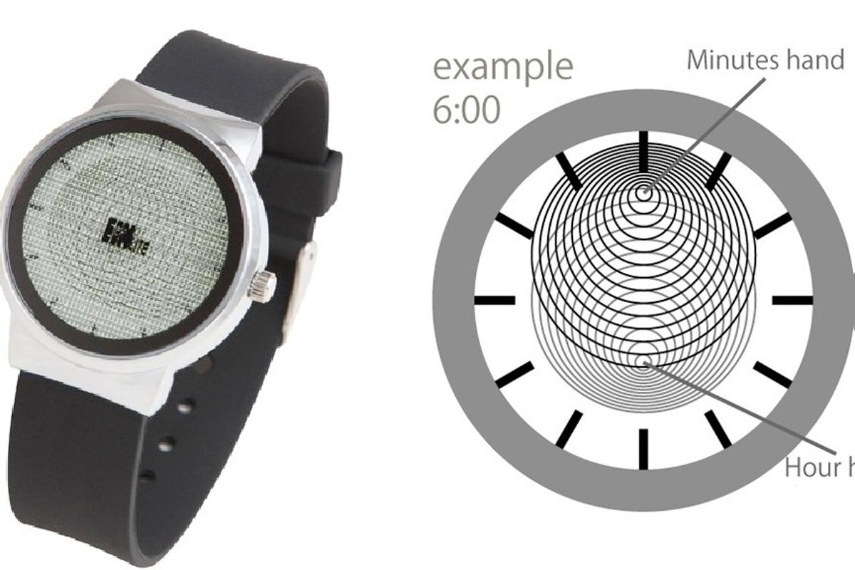 The Stocking Watch uses circles instead of hands to tell the time