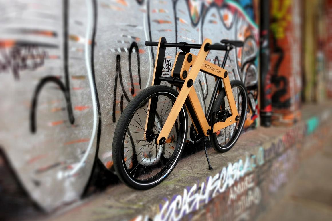 The wood-framed Sandwichbike is purchased flat-packed in a box, and is assembled by the buyer