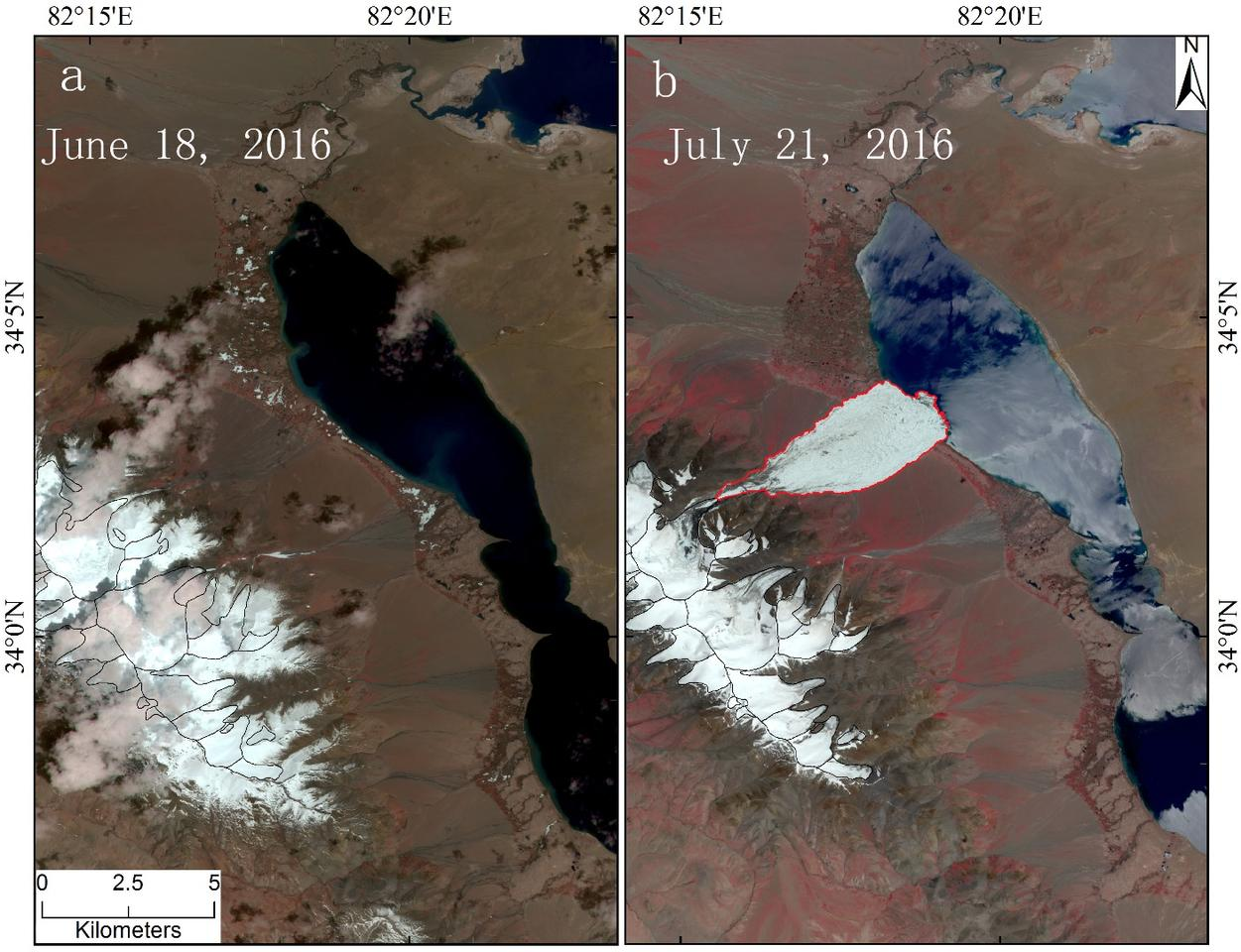 Satellite images show thebefore (left) and just after (right) ofthe Aru Glacier collapse that occurred on July 17, 2016 in western Tibet