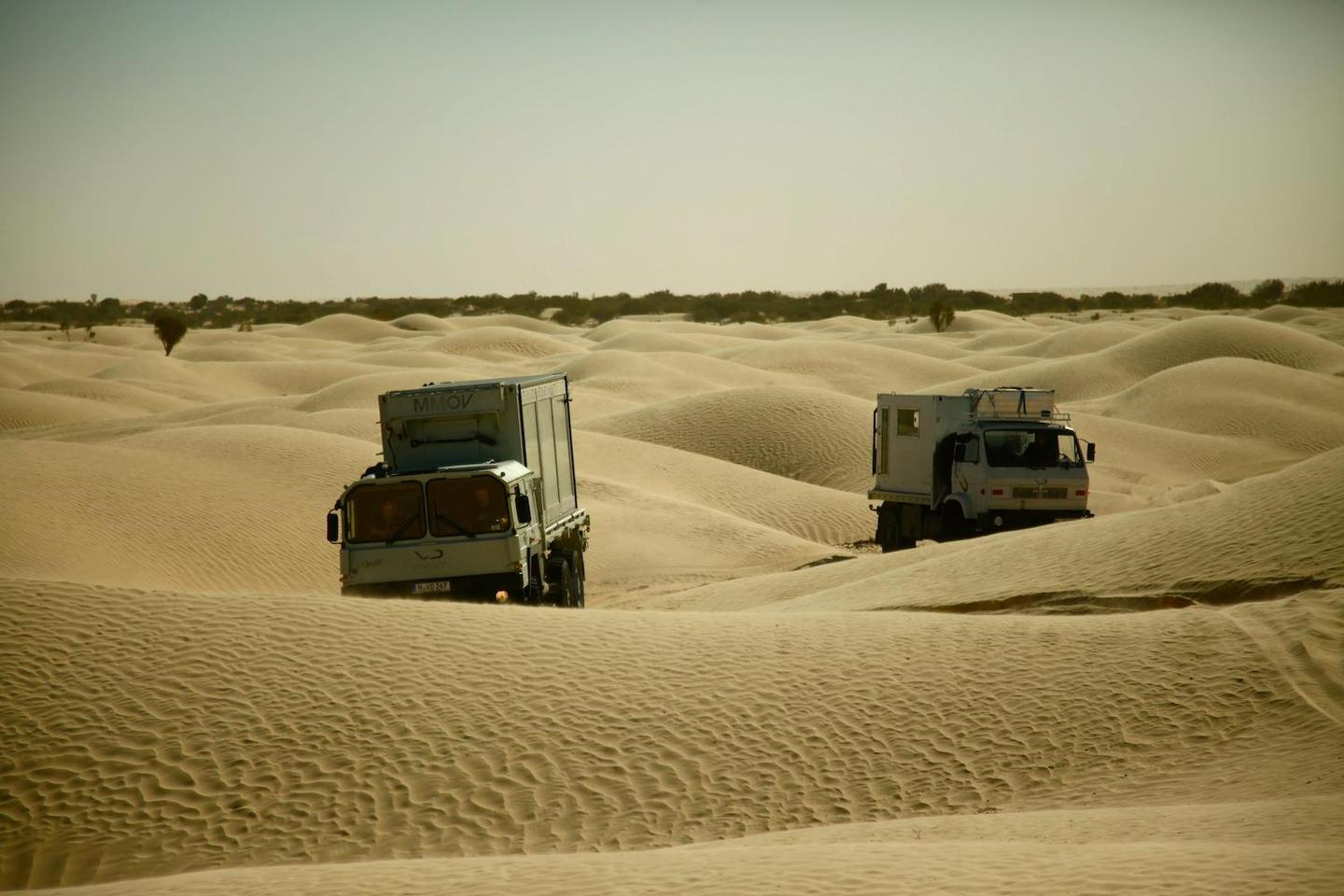 The MMOVE fleet had to be rugged and capable to haul equipment and crew over this unrelenting terrain