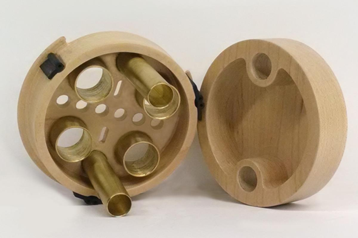 The Shorty sound processor and wood diaphragm