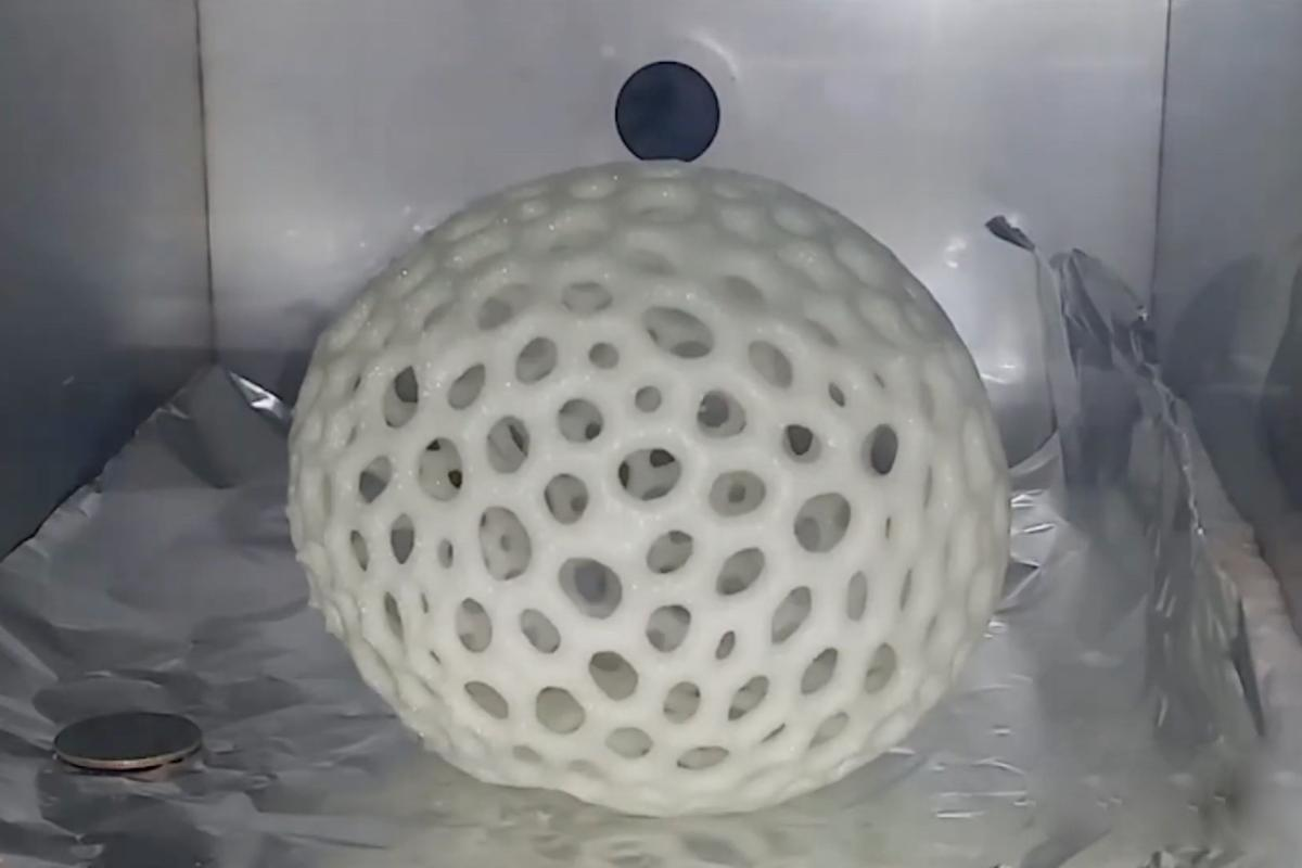 A lattice sphere printed from the resin, seen here in its expanded foam form