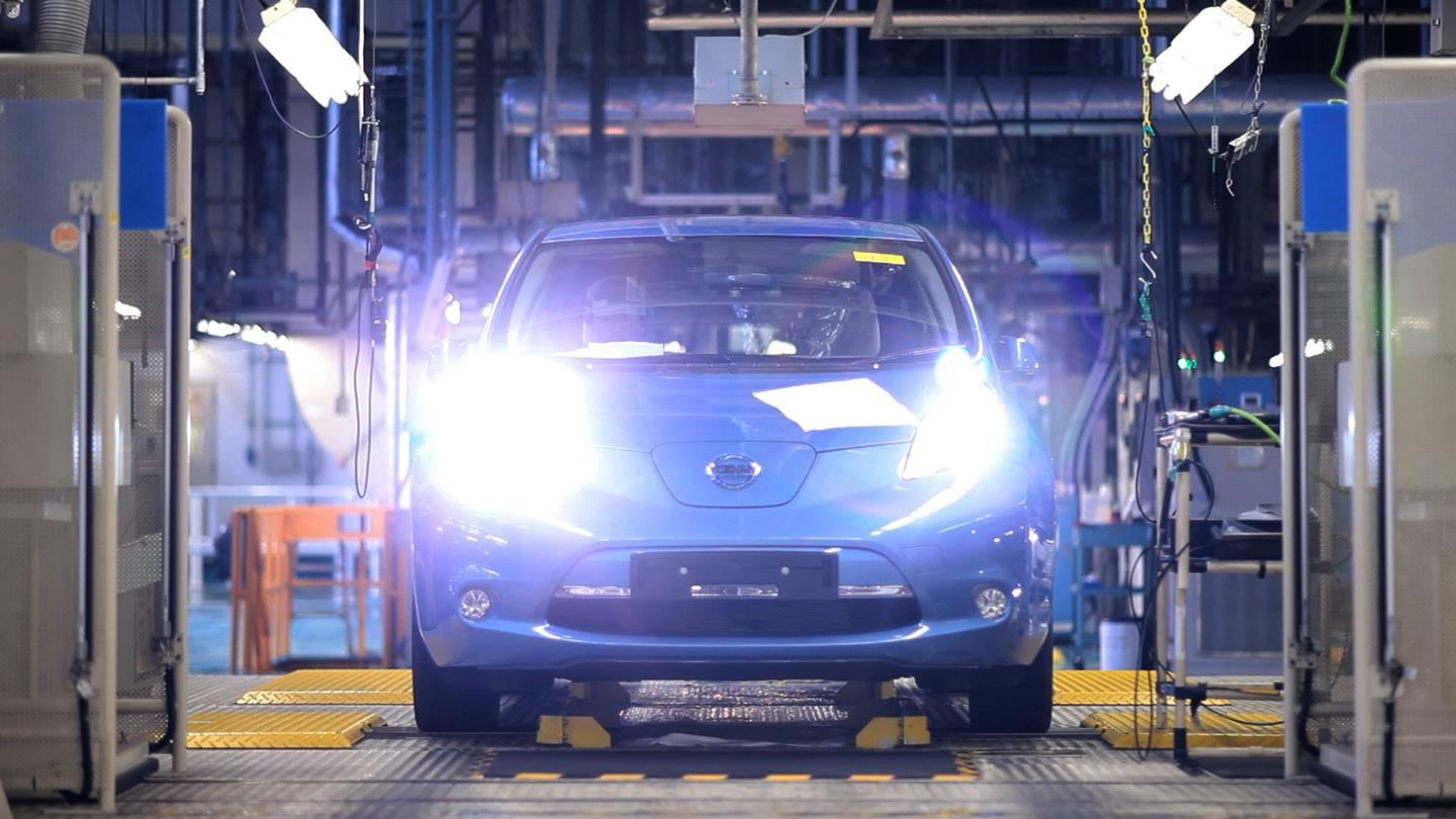 The all-electric zero-emission Nissan LEAF has gone into production at the Oppama facility in Japan (Photo: Nissan)