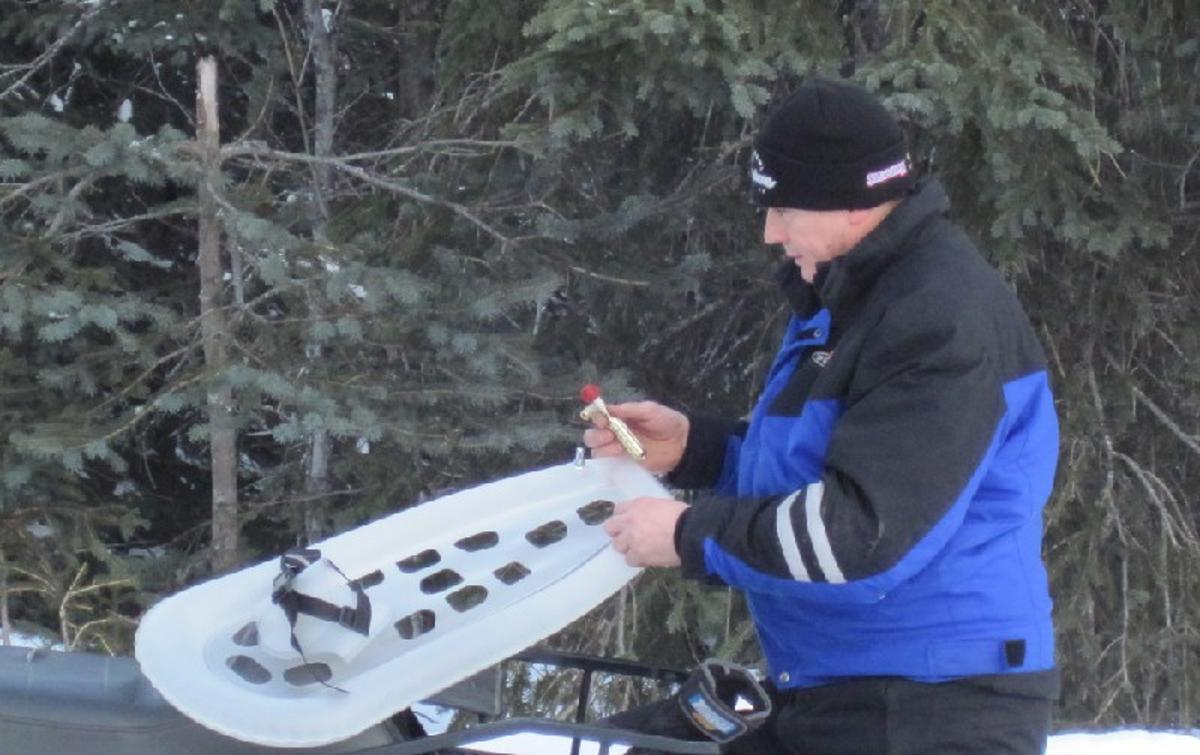 Airlite snowshoes inflate and keep you from sinking into snow