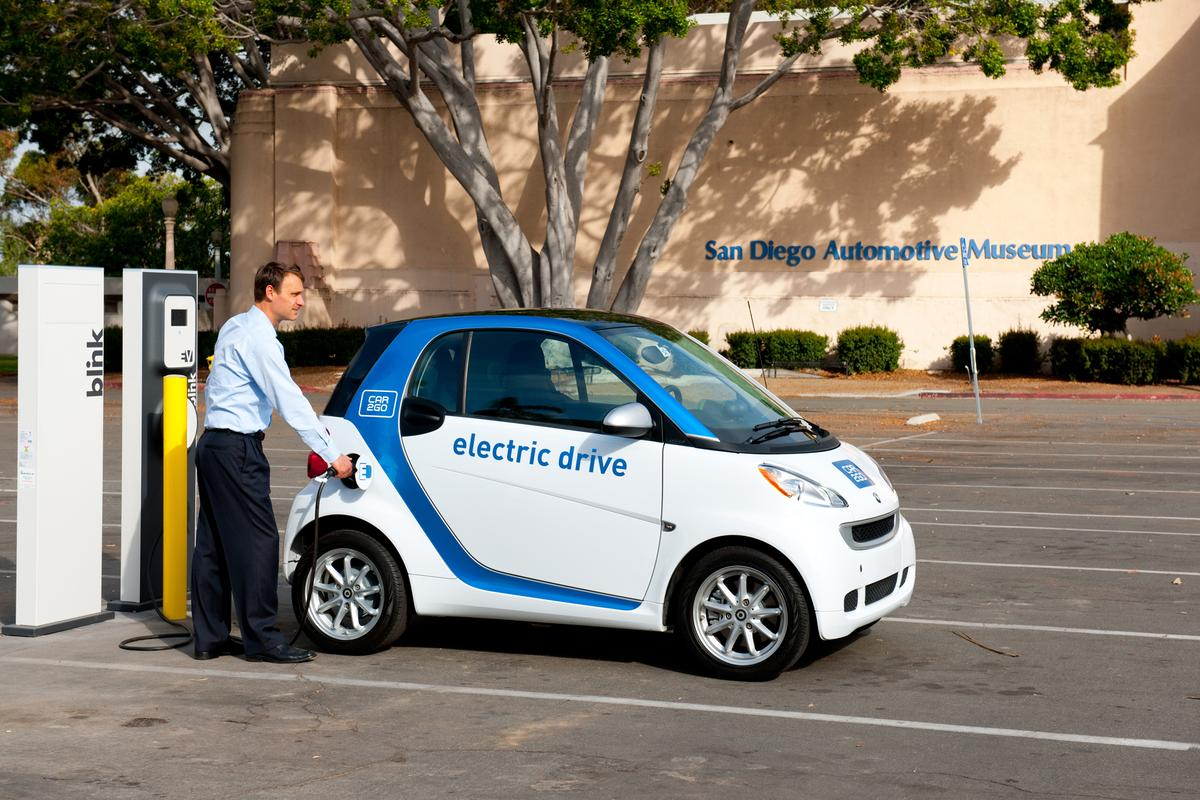 car2go charging at the San Diego Automotive Museum Blink electric charging station
