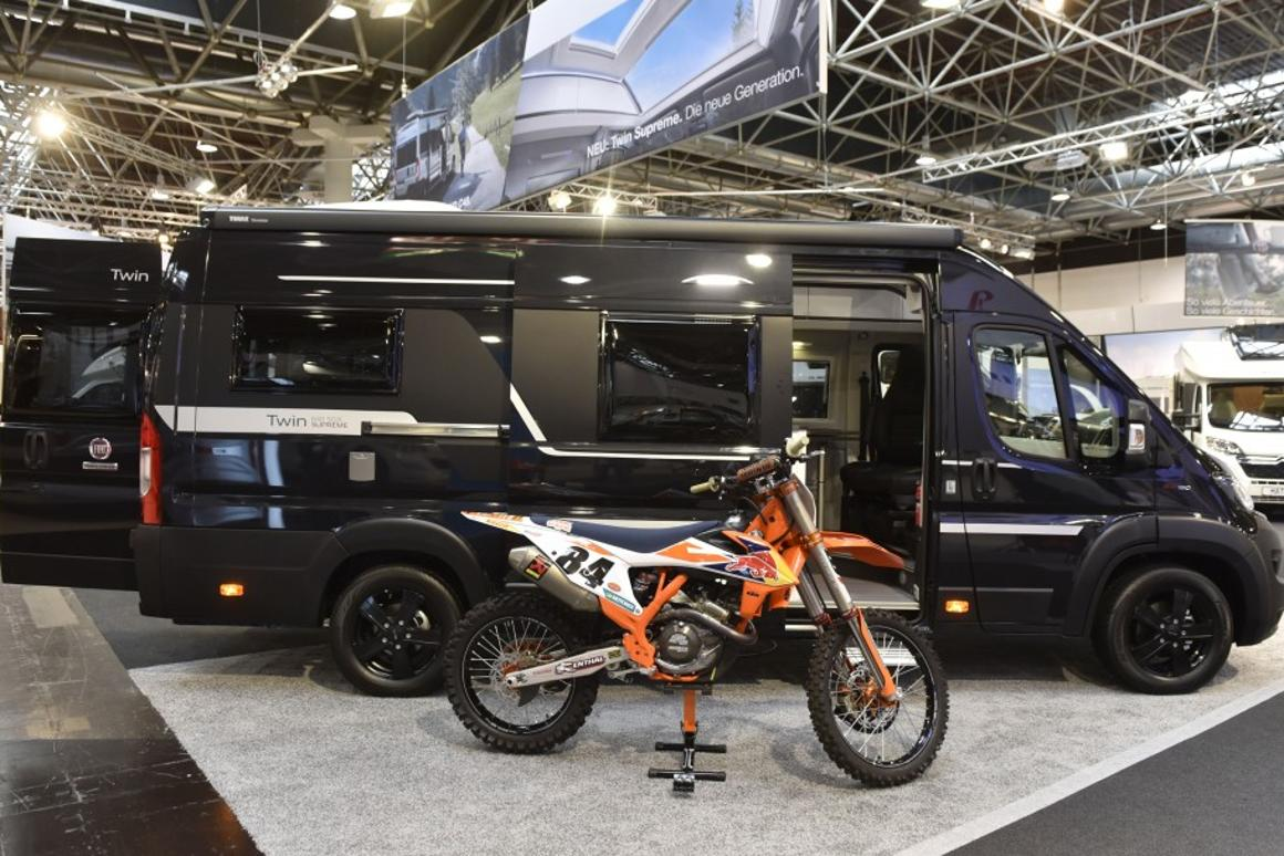 Adria used a KTM MX motorcycle to help amp up the feeling of adventure at the 640 SGX premiere