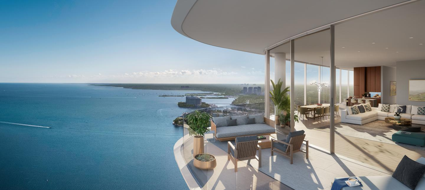 Una Residences' apartments will offer views of Biscayne Bay, as well as the Atlantic Ocean and Miami skyline