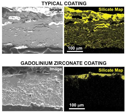 Scanning electron microscope images show what happened when the typical coating (top) and the gadolinium zirconate coating (bottom) interacted with Eyjafjallajokull ash at high temperature (Images: Ohio State University)
