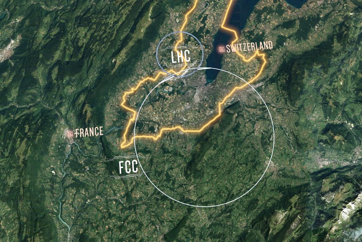 The proposed Future Circular Collider (FCC)would have a circumference of 100 km (62 mi), dwarfing the existing Large Hadron Collider (LHC)