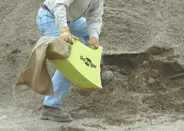 The GoBagger is a sandbag-filling device that is said to be five times faster than using a shovel