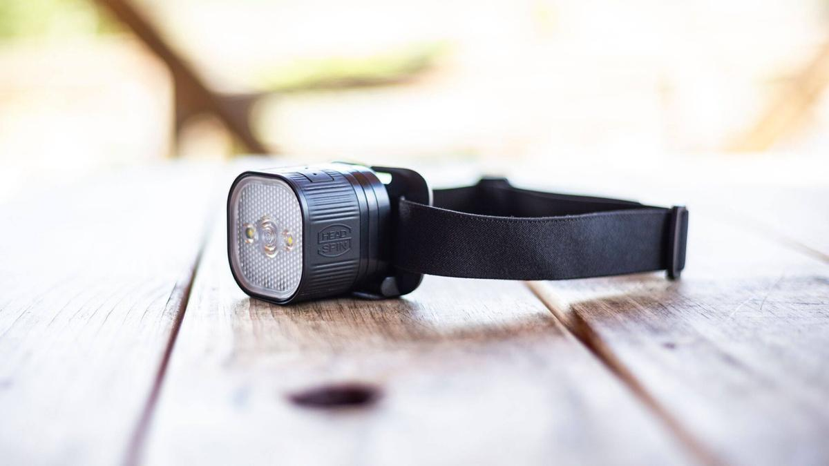 The HeadSpin on its headlamp mount