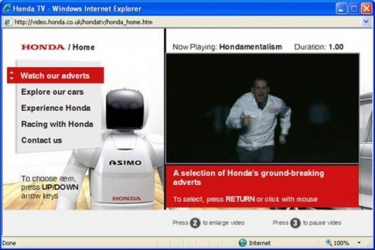 Honda on-demand Internet TV